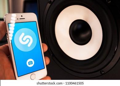 2018.04.23 Kazan Russia - Shazam music app on Apple iphone 5 SE screen