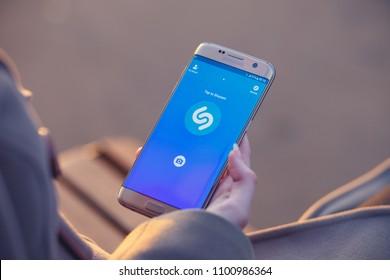2018.04.23 Kazan, Russia - Shazam music app on Samsung Galaxy S7 Edge phone screen