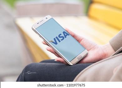 2018.04.23 Kazan, Russia - Visa payment system logo on Samsung Galaxy S7 Edge phone screen