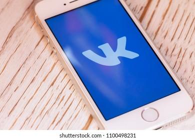 2018.04.23 Kazan Russia - Vkontakte VK social network app on Apple iphone 5 SE screen
