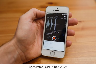 Voice Recorder Sound App On Iphone Images, Stock Photos