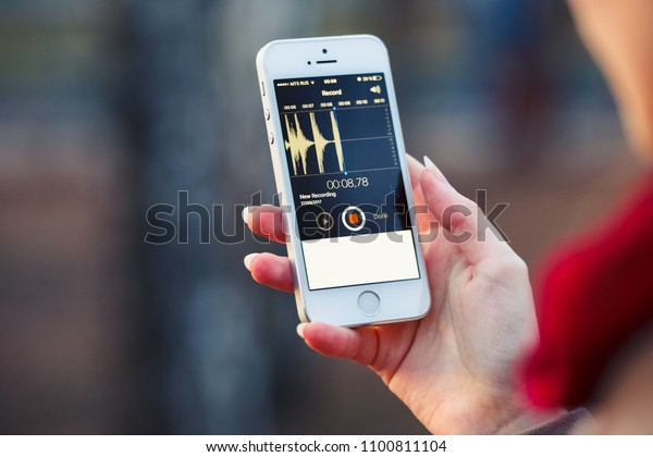 2018.04.23 Kazan Russia - Voice recording app on Apple iphone 5 SE screen