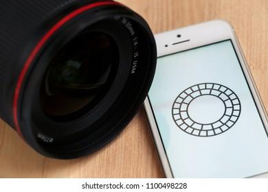 2018.04.23 Kazan Russia - Vsco photo editing app on Apple iphone 5 SE screen