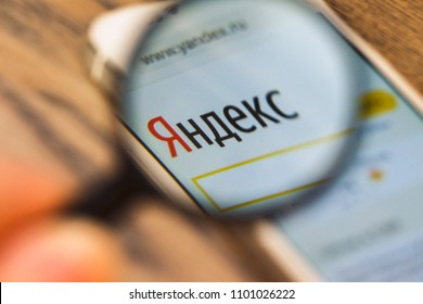 2018.04.23 Kazan Russia - Yandex logo on Apple iphone 5 SE screen
