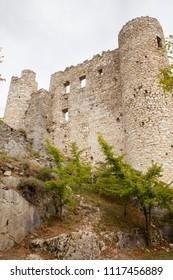 2018-05-10 Bargeme France. Ruins of old medieval castle of Bargeme in Provence France