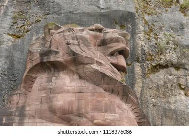 2018-05-14 Belfort France. Lion memorial called Lion de Belfort, in Belfort France