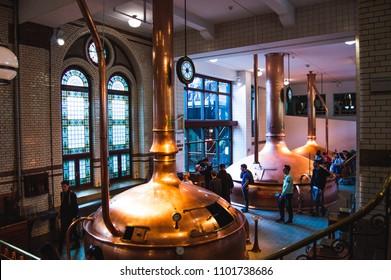 2018-05-18 AMSTERDAM, NETHERLANDS : Brewery inside Heineken Experience Museum