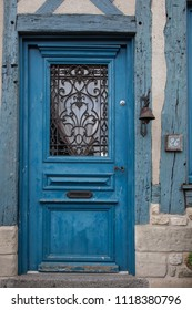 2018-06-12 Normandy France.  Old door of a traditional house  in medieval village of Beaumont en Auge in Normandy France