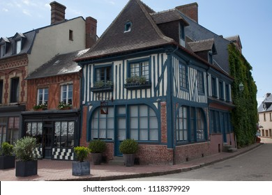 2018-06-12 Normandy France.  traditional house  in medieval village of Beaumont en Auge in Normandy France