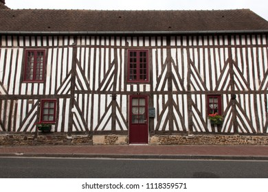 2018-06-12 Normandy France.  traditional houses  in medieval village of Beuvron en Auge in Normandy France