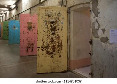 2018-06-15 Avignon France. Door in abandoned jail in Avignon France