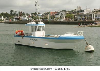 2018-06-15 Benodet France. Ships in Benodet harbor in Brittany France