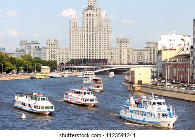 2018.06.17, Moscow, Russia. Ships on Moscow river on tallest building background. Cityscape of Moscow. Summer in the Moscow.