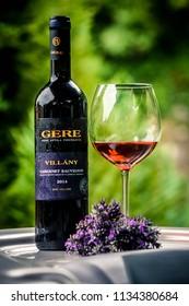VISEGRÁD/Hungary 2018.07.07  Wine Brand name: GERE Hungary Wine Fest