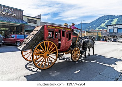 2018-07-11 downtown Jackson Wyoming USA stagecoach rides old west days