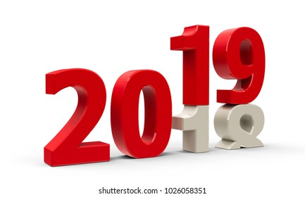 2018-2019 change represents the new year 2019, three-dimensional rendering, 3D illustration