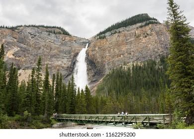 2018-July-01: Bridge in front of Takakkaw Falls located at Yoho national park British Columbia Canada