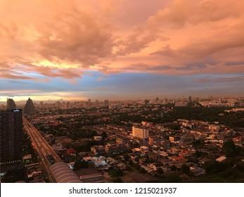 2018-October-29, Morning sky over MRT Wongsawang station,Bangkok, Thailand.