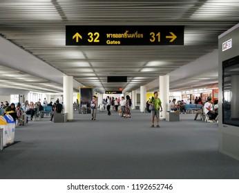 2018-Sep -18 ,Don meung Airport ,Bangkok,Thailand: passenger walking in the airport terminal