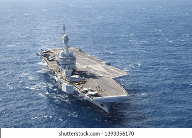 2019 03 25 Mediterranean Sea, near Cyprus. The french aircraft carrier 'Charles de Gaulle' (R91) sails south of Cyprus in TaskForce437, in 'operation Clemenceau'.