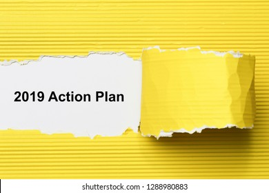 2019 action plan text on paper.  Concept Image.