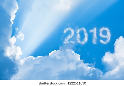 2019 among clouds and sunlight, 3D illustration