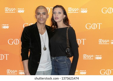 2019, April 15. Pathe ArenA, Amsterdam, the Netherlands. Jojo Pors and Sha Senior at the premiere of Game of Thrones season 8.
