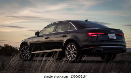 2019 Audi A4 taken at sunset on March 4, 2019 in Las Cruces, NM