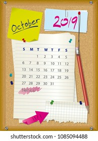 2019 calendar - month October - cork board with notes - week starts on Sunday