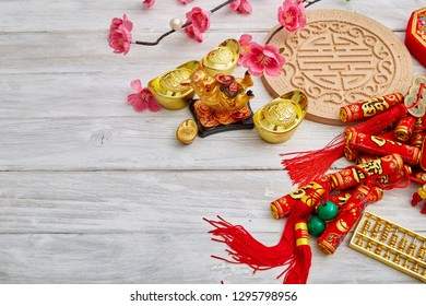 "2019 Chinese new year or lunar new year decoration on white wooden background. Text space images. with character ""FU"" mean good luck ,fortune and blessing."