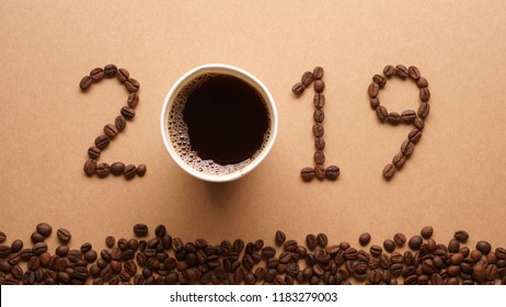 2019 coffee beans on paper texture in vintage style for new year concept background