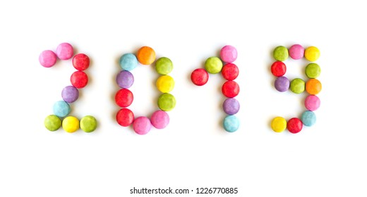 2019 colorful candies  isolated on white background