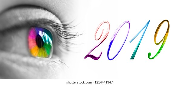 2019 and colorful rainbow eye header, 2019 new year greetings concept