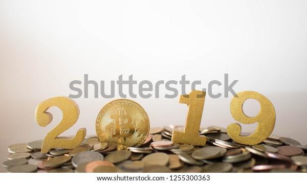 2019 Cryptocurrency Financial Concept Golden Bitcoin Stock Photo