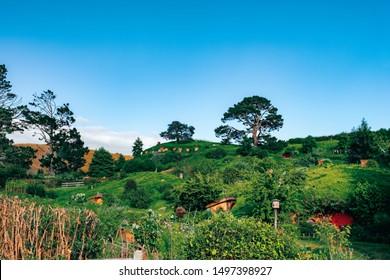 2019, February 18th, New Zealand, Matamata, Hobbiton movie set - Beautiful scenery of the garden and hobbit house (hole) in Shire.