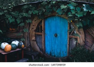 2019, February 18th, New Zealand, Matamata, Hobbiton movie set - The Hobbit house front Door of (Hole).