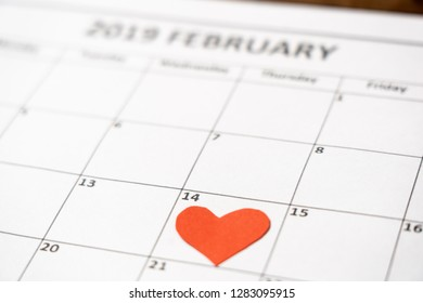 2019 february out of focus calendar and focus red heart on the 14th, blur romantic light in getting ready for saint Valentines day date, Love celebration, dreams and romantic anniversary concept.