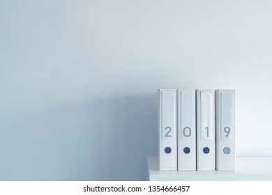 2019 fiscal year ring binders in office with blank white copy space