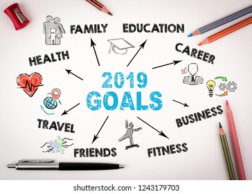 2019 goals Concept. Chart with keywords and icons on white background