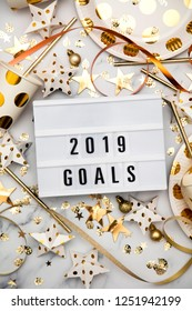 2019 goals lightbox celebration message with luxury gold party decorations