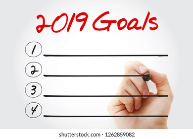 2019 Goals List with marker, business, sport and health concept background
