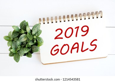 2019 goals on brown notebook paper at office desk background, banner sign, 2019 new year business strategy annual plan, success in business concept
