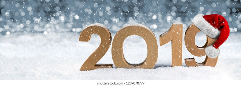 2019 happy new year christmas wide panorama greeting card number santa claus hat symbol lettering wooden snow background silver lights bokeh concept