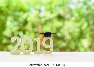 2019 happy new year / graduate study abroad program, time schedule arrangement, education concept : Black graduation cap of success on number 2019 white wood cut on desk table, nature green background