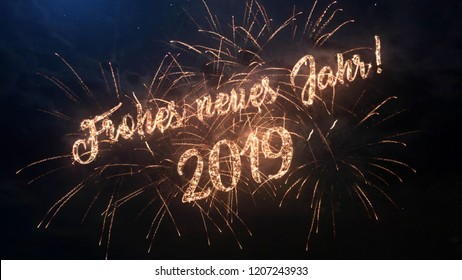 2019 Happy New Year greeting text in German with particles and sparks on black night sky with colored fireworks on background, beautiful typography magic design.