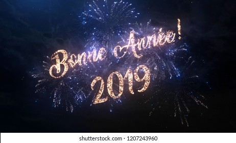 2019 Happy New Year greeting text in French with particles and sparks on black night sky with colored fireworks on background, beautiful typography magic design.