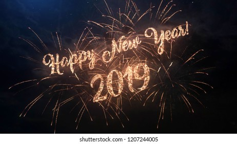2019 Happy New Year greeting text with particles and sparks on black night sky with colored fireworks on background, beautiful typography magic design.