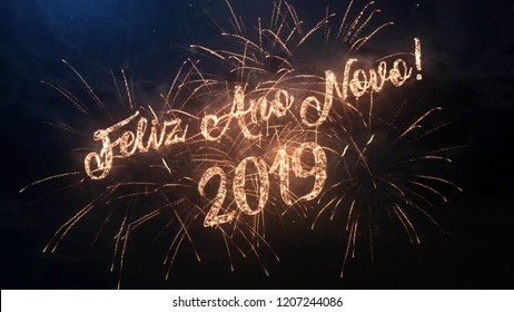 2019 Happy New Year greeting text in Portugal with particles and sparks on black night sky with colored fireworks on background, beautiful typography magic design.