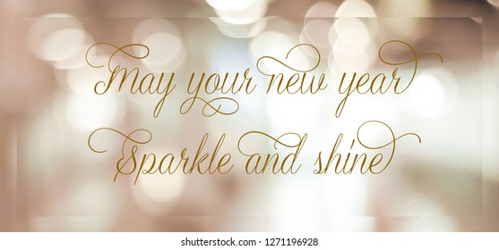 2019 happy new year positive quotation on blur abstract background, new year greeting card banner