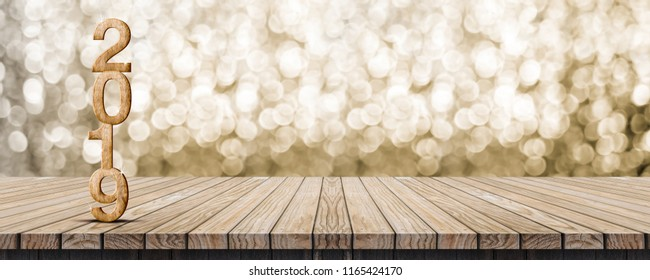 2019 happy new year wood number (3d rendering) on wood table with sparkling gold bokeh wall,leave space for banner display or montage of design or content